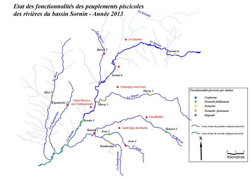 Fonctionnalités piscicoles des quelques rivières du bassin du Sornin