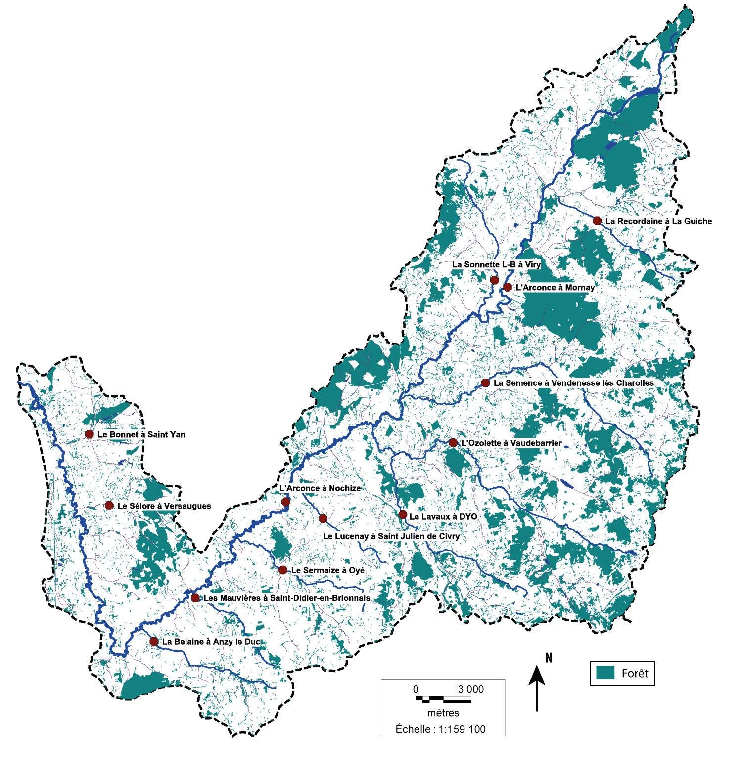 Carte des Indices Poisson Rivière du Bassin de l'Arconce
