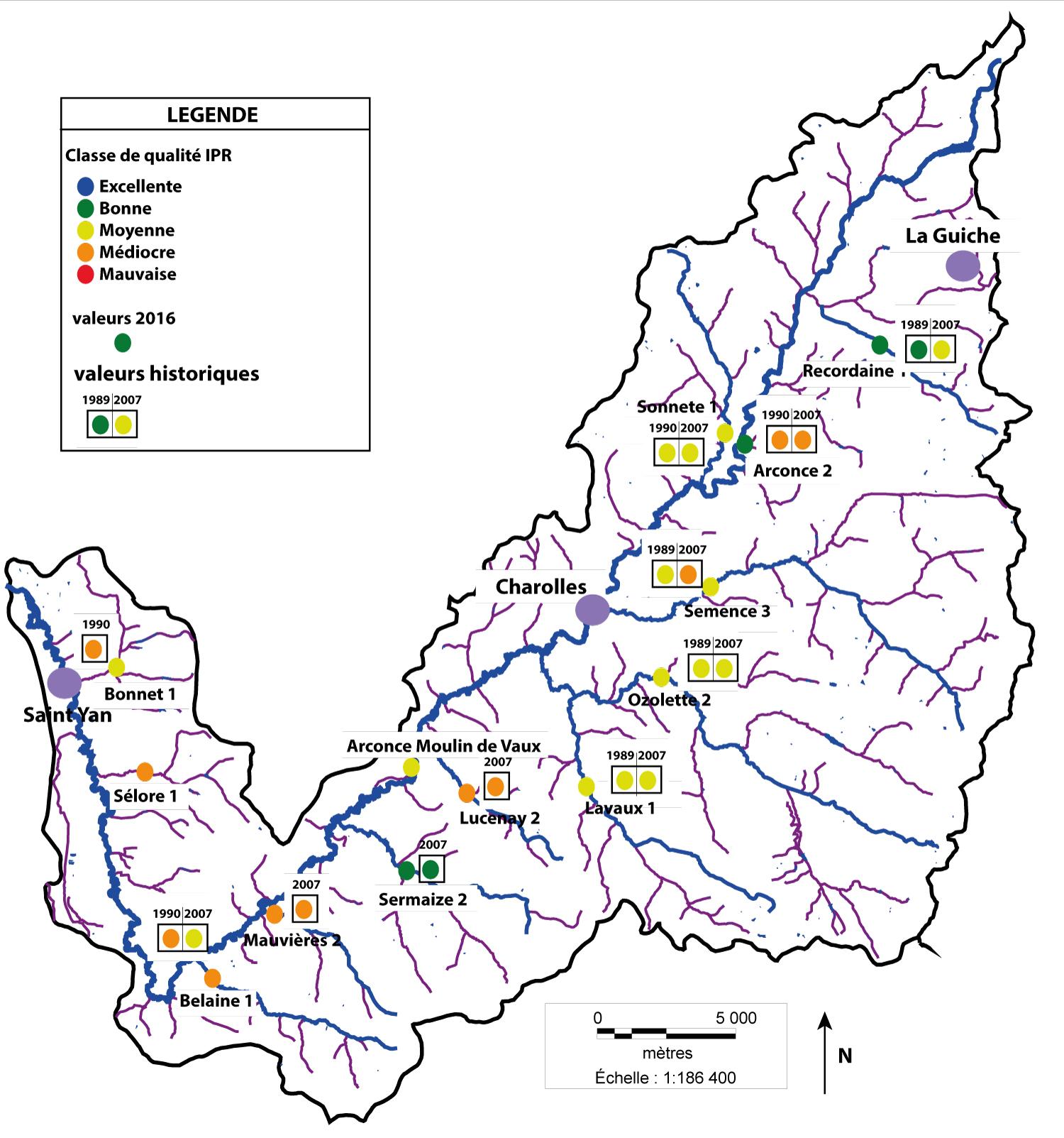 Carte des Indices Poissons Rivières - bassin de l'Arconce