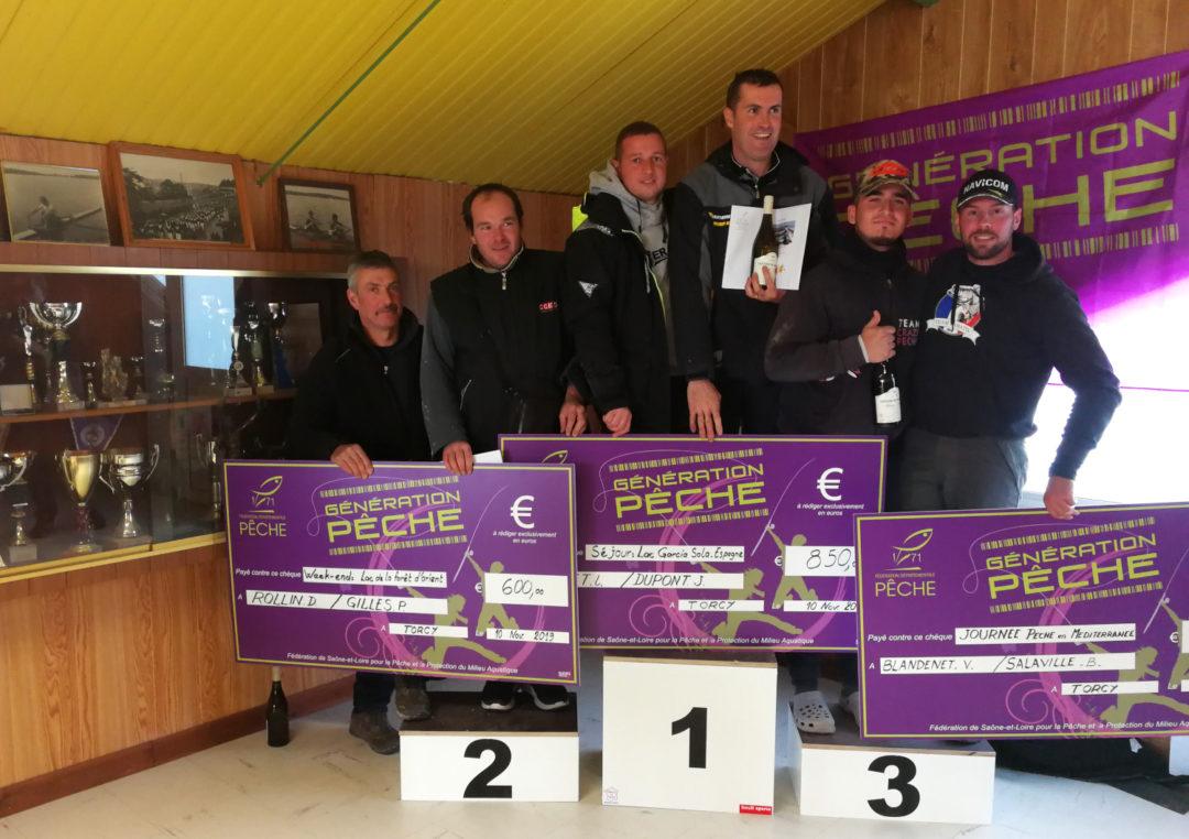 Podium Challenge départemental des pêches des poissons carnassiers en bateau de Saône-et-Loire - Lac de Torcy